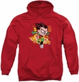 Teen Titans Go pull-over hoodie Robin adult red