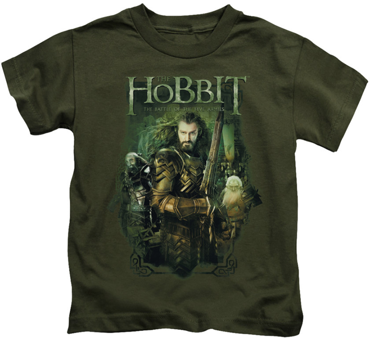 The hobbit kids t shirt thorin and company military green for Military t shirt companies