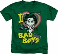 The Joker kids t-shirt I Heart Bad Boys 2 kelly green