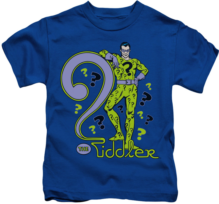 The riddler kids t shirt question mark royal for Riddler t shirt with bats