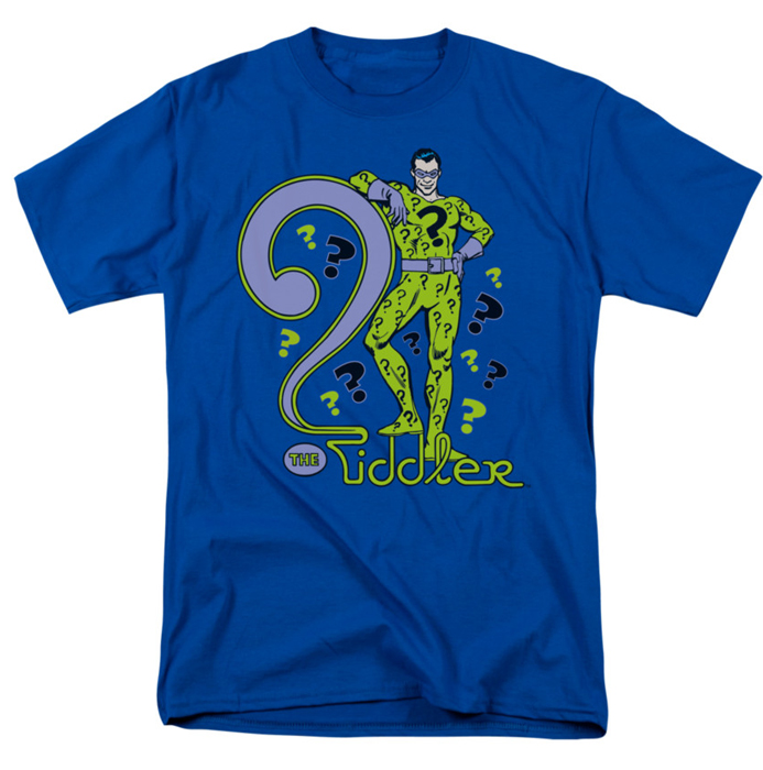 The riddler t shirt dc comics mens royal blue for Riddler t shirt with bats