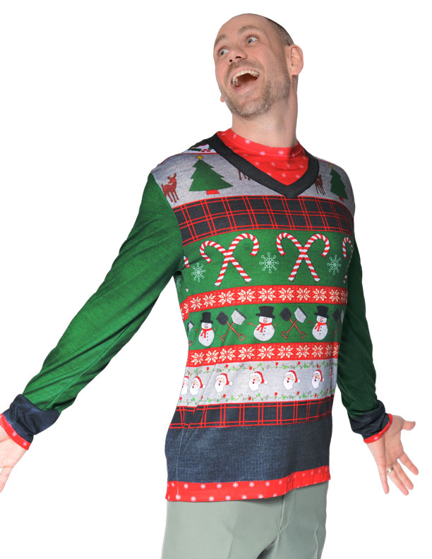 ugly christmas sweater candy canes and snowmen mens t shirt