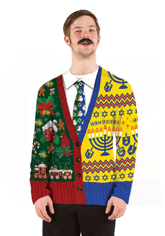 Ugly Christmas Sweater T Shirt Half Hanukkah Half Xmas Mens