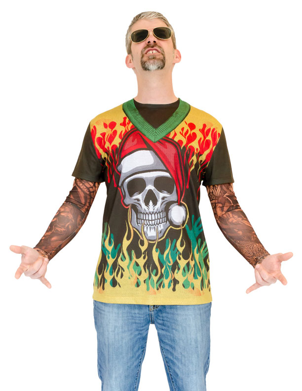 ugly christmas sweater t shirt heavy metal xmas with tattoos mens - Metal Christmas Sweater