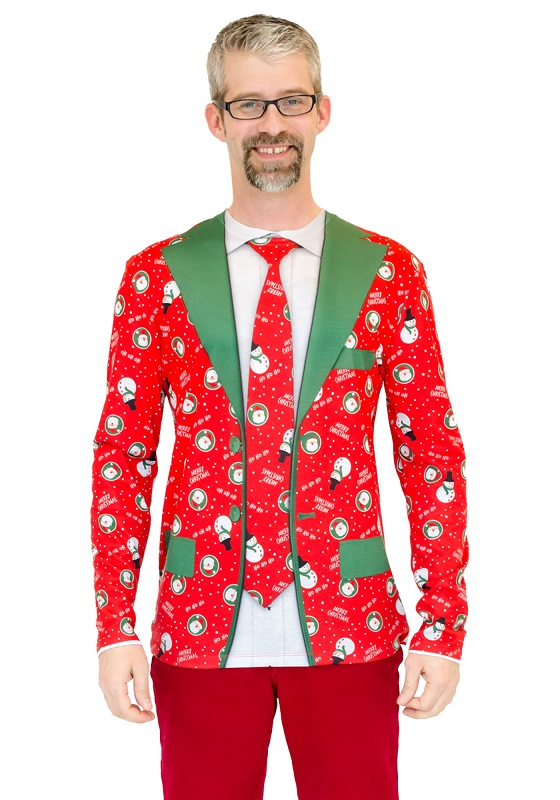 ugly christmas sweater red xmas suit and tie mens t shirt