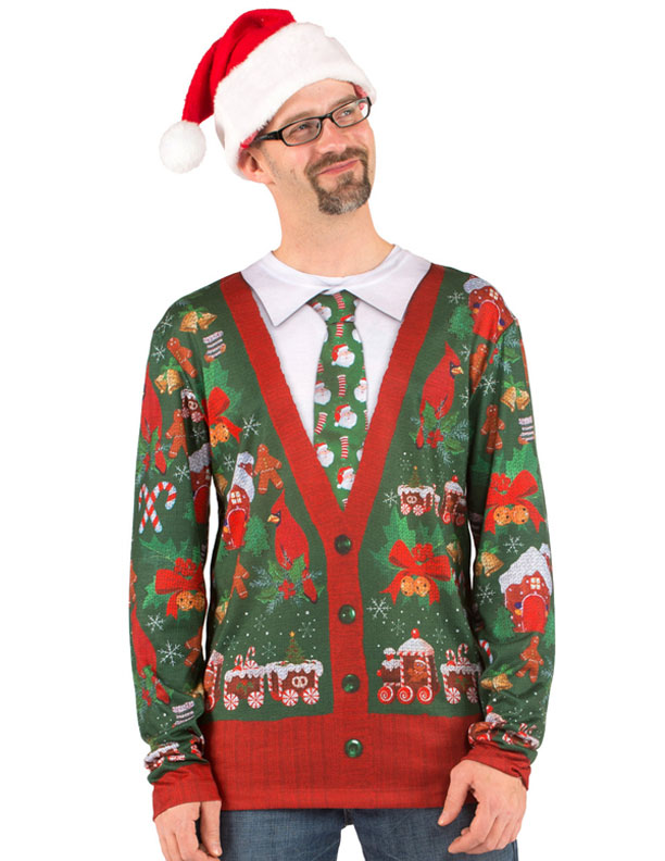Ugly Christmas Sweater Xmas Cardigan with Tie mens t-shirt