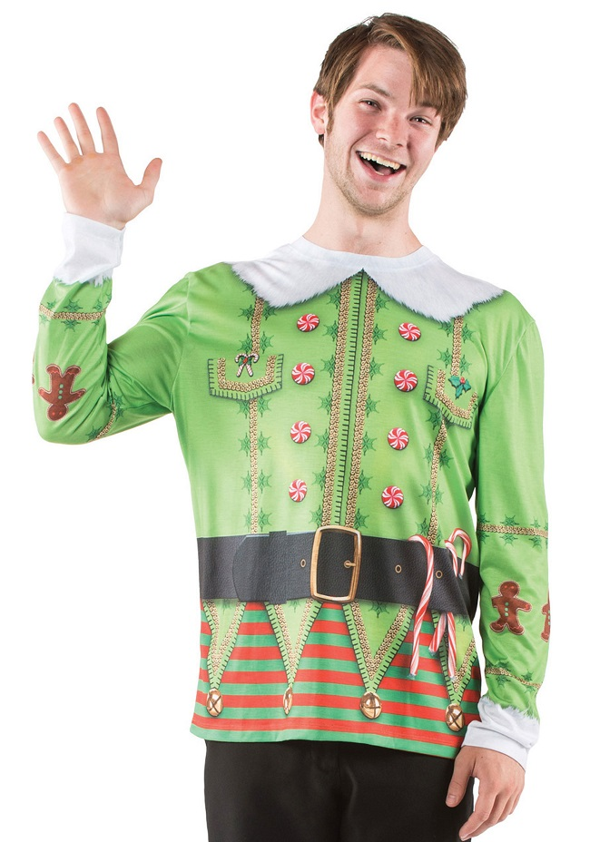 ugly christmas sweater t shirt xmas elf mens - Ugly Christmas Sweater Elf
