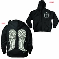 Walking Dead Daryl Dixon Wings Black Zip Hoodie