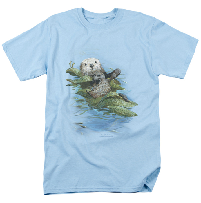 wildlife t shirt kelp cradle otters mens light blue. Black Bedroom Furniture Sets. Home Design Ideas