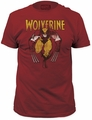 Wolverine on red fitted jersey tee vintage red