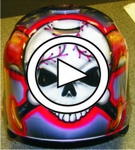Skull baseball helmet video #1