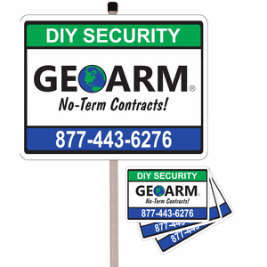 GEOARM� Home Security Sign w/Post and 3-Pack Stickers Combo
