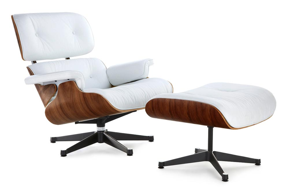 Classic Lounge Chair U0026 Ottoman   White With Black Base Style ...