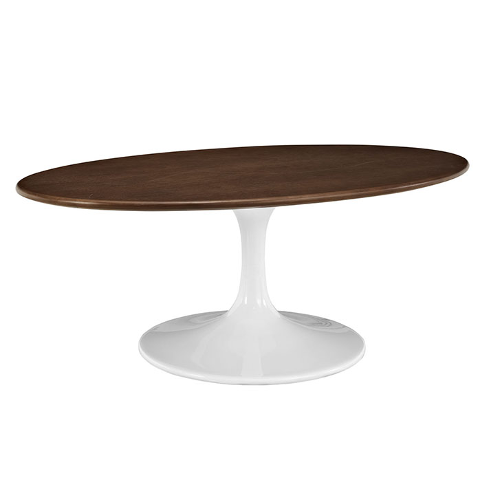 Tulip table replica 42 oval shaped walnut coffee table Oval shaped coffee table