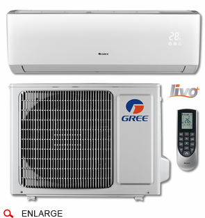 GREE LIVS12HP115V1B LIVO+ Single Zone Ductless Mini Split w/Inverter Heat Pump, 12,000 BTU, 115 Volt, 16.0 SEER, WiFi Capable, Includes Indoor Wall Unit with Remote and Outdoor Condenser, Line Sets and Accessories Sold Separately