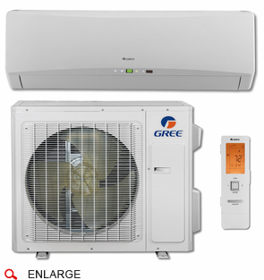 GREE TERRA24HP230V1A TERRA Single Zone Ductless Mini Split System with Inverter Heat Pump, 24,000 BTU, 230/208 Volt, 21.0 SEER, Includes Indoor Wall Unit with Remote and Outdoor Condenser