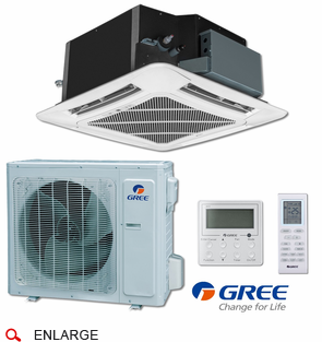 GREE UMAT24HP230V1ACS Ceiling Cassette Indoor Unit, 24,000 BTU Outdoor Condenser, 230/208 Volt, R410A Refrigerant, Includes IR Remote and Tethered Controller, Internal Condensate Drain Pump, Decorative Air Grille Sold Separately