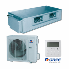 GREE UMAT24HP230V1ADS Slim Duct Indoor Unit, 24,000 BTU Outdoor Condenser, 230/208 Volt, R410A Refrigerant, Internal Condensate Drain Pump, Includes Wall Mounted Teather Controller and Sentry Float Switch