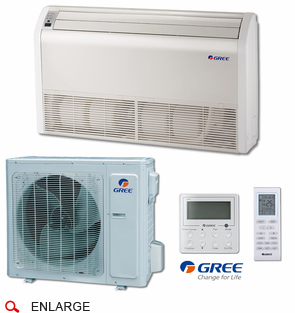 GREE UMAT24HP230V1AFS Floor-Ceiling Indoor Unit, 24,000 BTU Outdoor Condenser, 230/208 Volt, R410A Refrigerant, Includes IR Remote and Tethered Controller, Power Failure Recovery and 4-Way Air Discharge
