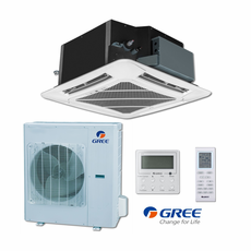 GREE UMAT30HP230V1ACS Ceiling Cassette Indoor Unit, 30,000 BTU Outdoor Condenser, 230/208 Volt, R410A Refrigerant, Includes IR Remote and Tethered Controller, Internal Condensate Drain Pump, Decorative Air Grille Sold Separately
