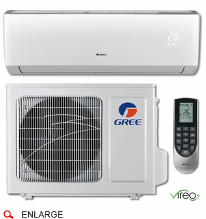 GREE VIR12HP115V1B VIREO+ Single Zone Ductless Mini Split w/Inverter Heat Pump, 12,000 BTU, 115 Volt, 22.0 SEER, WiFi Capable, Includes Indoor Wall Unit with Remote and Outdoor Condenser, Line Sets and Accessories Sold Separately