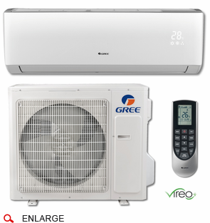 GREE VIR24HP230V1B VIREO+ Single Zone Ductless Mini Split w/Inverter Heat Pump, 24,000 BTU, 230/208 Volt, 30.5 SEER, WiFi Capable, Includes Indoor Wall Unit with Remote and Outdoor Condenser, Line Sets and Accessories Sold Separately
