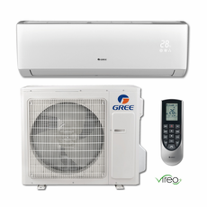 GREE VIR30HP230V1B VIREO+ Single Zone Ductless Mini Split System with Inverter Heat Pump, 30,000 BTU, 230/208 Volt, 18.0 SEER, WiFi Capable, Includes Indoor Wall Unit with Remote and Outdoor Condenser