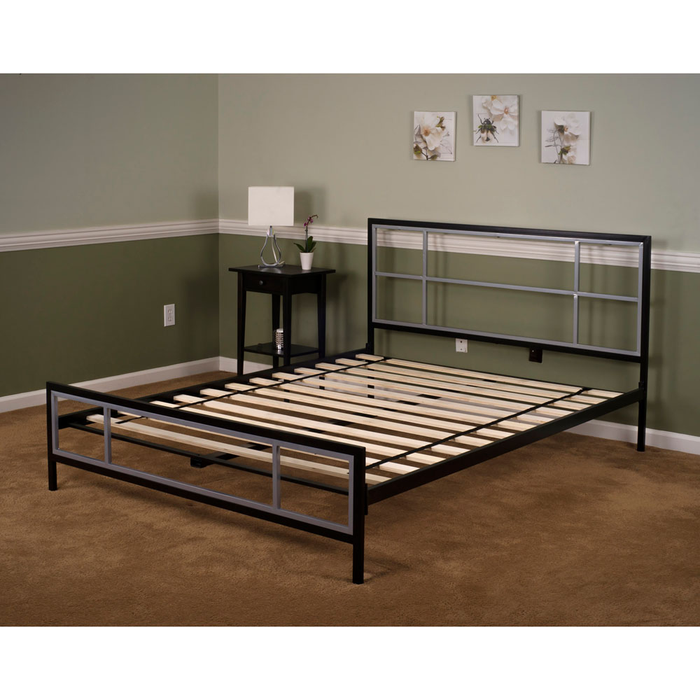 hanover hbedlinc-qn lincoln square queen metal bed frame, cool
