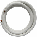 "JMF LS1412FF15W-WHITE Ductless Mini Split Line Set with EZ-Pull Lining, 1/4"" x 1/2"" x 15' Long with Flare Fittings and 14-4 600V Wire"