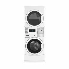Maytag MLE20PDCYW Commercial Stacked Washer with Electric Dryer, Coin Drop Included, Microprocessor Controls, 240V/60Hz/30A, Usually Built to Order, If Built 4-Week Lead Time