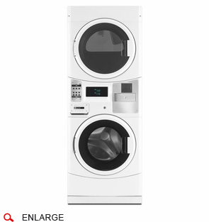 Maytag MLG20PRCWW Commercial Stacked Washer with Gas Dryer, Prep for Card Reader, Energy Advantage, Microprocessor Controls, Usually Built to Order, If Built 4-Week Lead Time