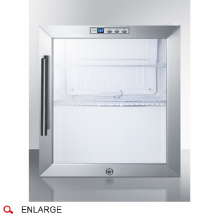 SUMMIT COMMERCIAL SCR215LCSS Compact Commercial Glass Door Refrigerator  With Auto Defrost, Full Stainless Steel Glass