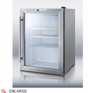 Summit SCR312LCSSWC Commercial Compact Glass Door Refrigerator, Wrapped Stainless  Steel Cabinet, Factory Installed Lock