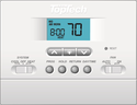 TopTech TT-P-411 Digital Wall Thermostat Single Stage, Heat Pump and Conventional , 5/2 Progammable