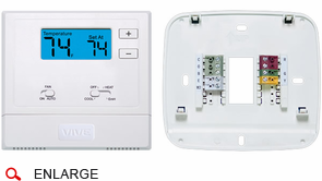 VIVE TP-N-621 Heat Pump Digital Residential Thermostat, 2 Heat, 1 Cool  Battery or Hardwire  Non-programmable