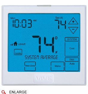 VIVE TP-S-955WH Wireless Universal Digital Residential Thermostat with Touchscreen, 2 Heat, 2 Cool Conventional, 3 Heat, 2 Cool Heat Pump, Battery or Hardwire, 7-Day, 5/1/1 or Non-programmable