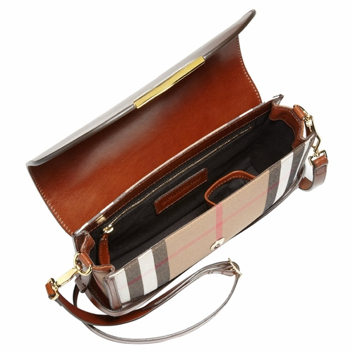3238d9623d28 Authentic Burberry Bridle House Check Small Abbott Crossbody Shoulder Bag -  Brown at Modaqueen.com