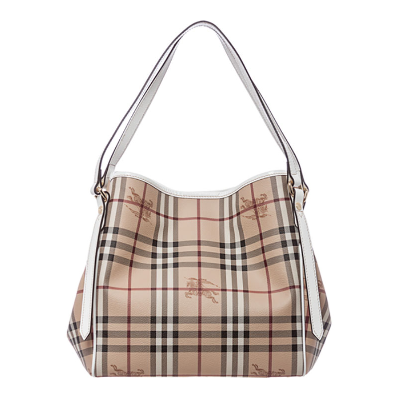 bbd782b07748 Burberry Haymarket Patent Colours Small Canterbury Tote Bag Beige - White