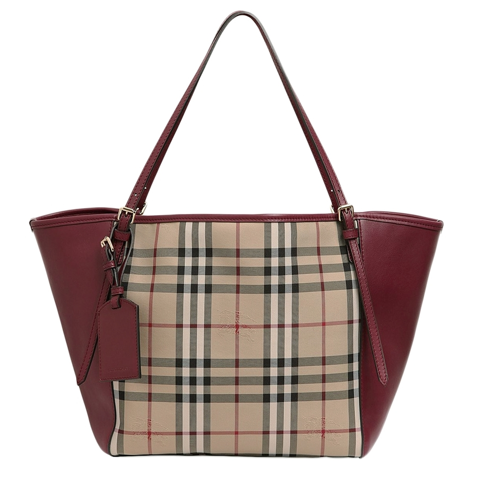 Authentic Burberry Horseferry Signature Leather Tote Bag