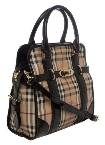 f33c8adf16d3 Authentic Burberry  Minford  Medium Haymarket Portrait Tote - Black at  Modaqueen.com