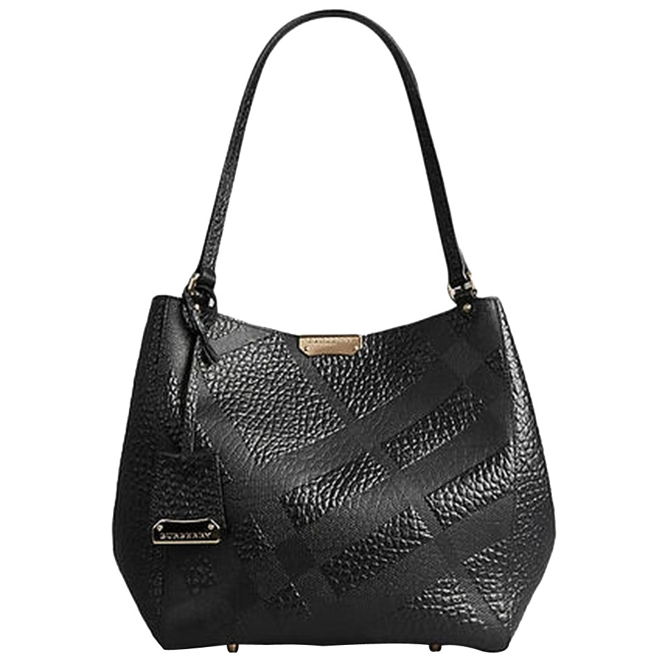 ed4d0ab2ba0e Burberry Small Canter In Embossed Check Leather Tote Bag - Black