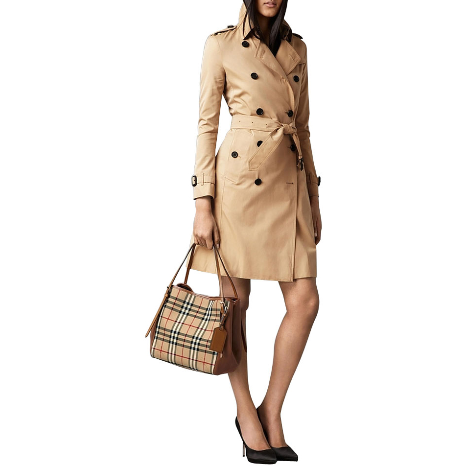 3f69ef487728 Authentic Burberry Small Canter in Horseferry Check and Leather Tote Bag -  Honey Tan at Modaqueen.com
