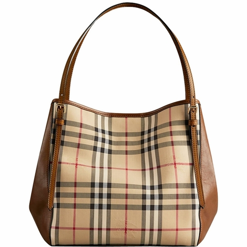 4bb1baa8a991 Authentic Burberry Small Canter in Horseferry Check and Leather Tote Bag -  Honey Tan at Modaqueen.com