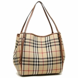 Burberry Small Haymarket Canterbury Tote 3908601 - Beige Brown