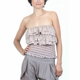 Cecico Strapless Polka Dot Top - Light Pink