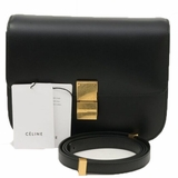 Celine Classic Box Leather Shoulder Bag - Black
