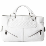 Celine Quilted Distressed Leather Biker Boogie Bag - Ash White