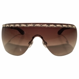 Chanel Shield Braided leather Sunglasses - Brown