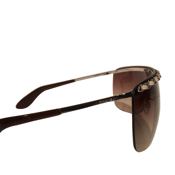 Authentic Chanel Shield Braided leather Sunglasses - Brown ...
