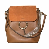 Chloe Leather Faye Backpack - Brown